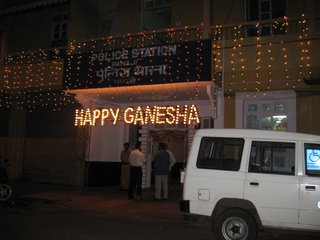 Panaji police station decorated for Ganesha Chaturthi